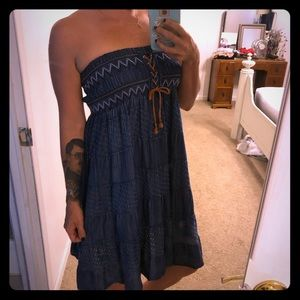 Super cute blue jean dress with lace up detail